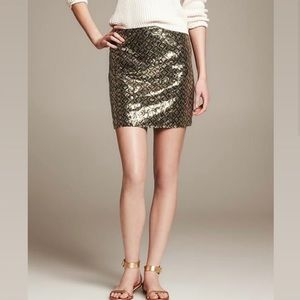 Express gold and olive green sequin mini skirt